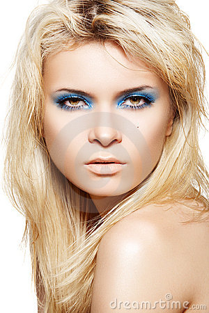 MODEL WITH FASHION GLOSS MAKE-UP & LONG EYELASHES (click image to zoom