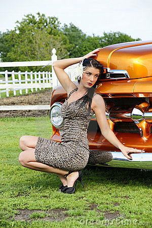 Model in front of the classic truck