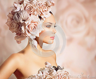Model Girl with Flowers Hair
