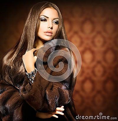 Free Model Girl In Mink Fur Coat Royalty Free Stock Photo - 33487945