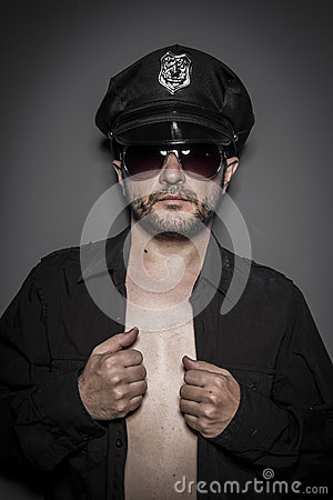 Model, Good looking policeman, sexy police with sunglasses over