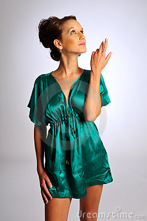 The model in green dress