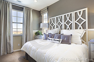 Model Home Bedroom - Taupe & White