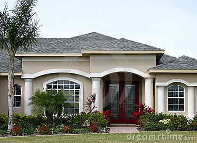 Model Home in Suburbs Stock Photo