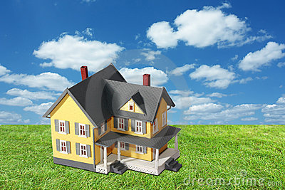Model house on green grass with sky