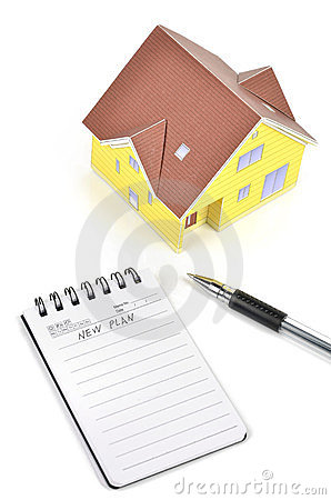 Model house and notepad with pen