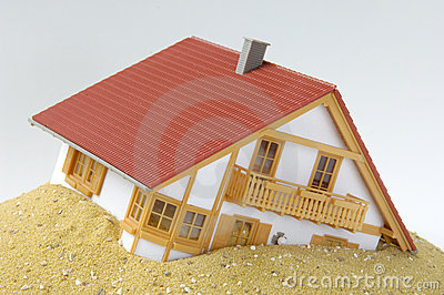 Model house in sand