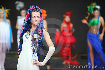Model at III Braiding Russian Championship Editorial Photo
