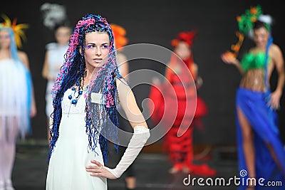Model at III Braiding Russian Championship Editorial Photo