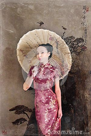 Free Model Japanese Red Dress Stands With An Umbrella. Geisha Stock Photos - 85145213