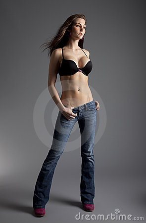 Model in Jeans and Bra