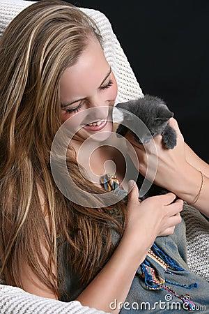 Model and Kitten