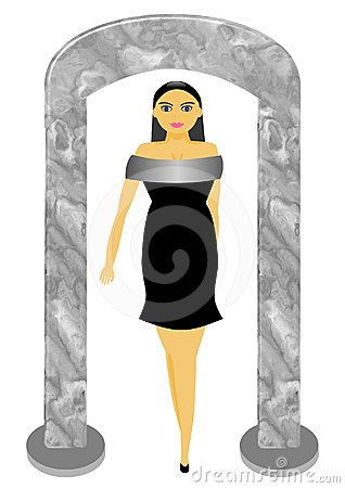 Model in little black dress