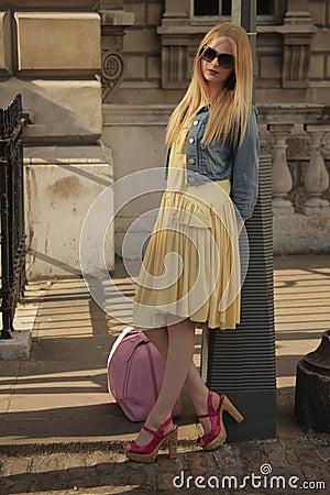 Model at London Fashion Week Editorial Stock Photo