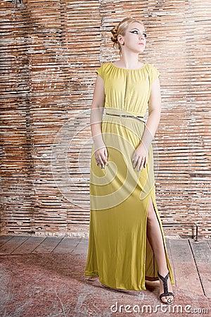 Model in a long dress