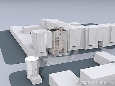 Model of modern buildings