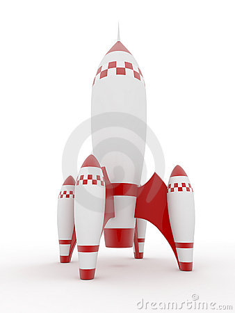 Model of rocket on white isolated background