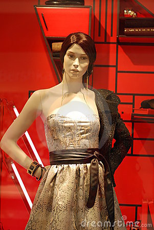 Model in shop window