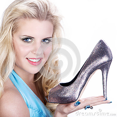 Model with silver shoes Stock Photo