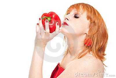 Model smelling red pepper