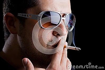 Model smoking a cigarette