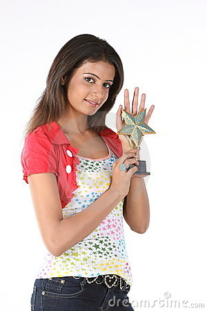 model with star trophy