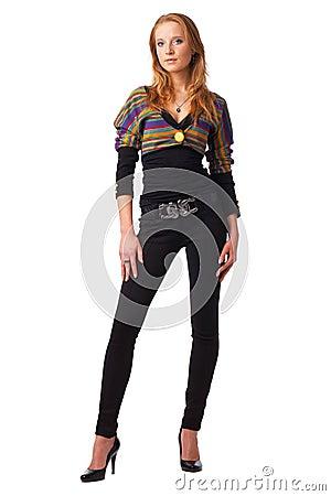 Model In Striped Blouse.