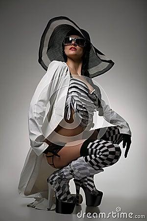 Model in striped hat