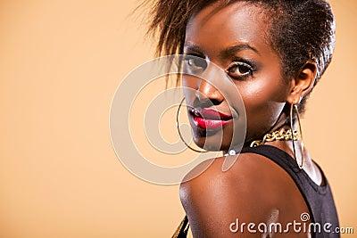 Model in Studio Looking over Shoulder