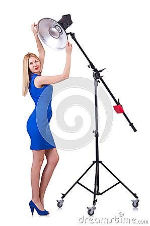 Model in the studio