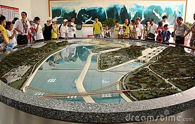 Model of Three Gorges Dam with tourists Editorial Image