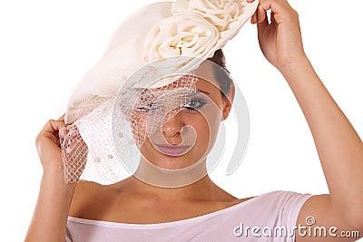 Model in vintage hat