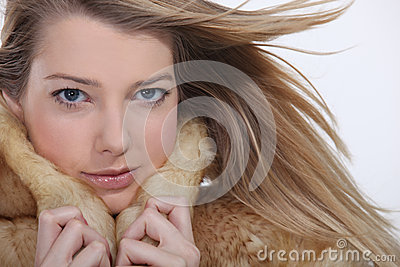 Model wearing a fur coat