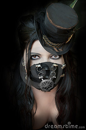 Free Model Wearing Steampunk Mask Royalty Free Stock Images - 19097129