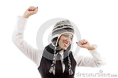 Model wearing winter cap