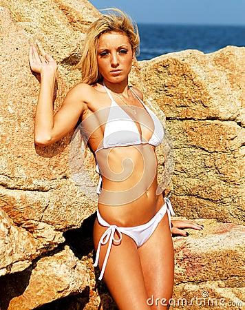 Model in white bikini