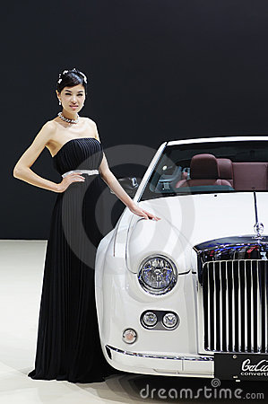 Model and White Mitsuoka galue convertible front Editorial Photography