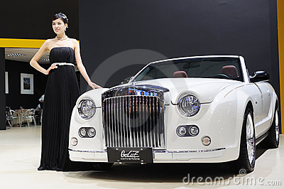 Model and White Mitsuoka galue convertible front Editorial Stock Image