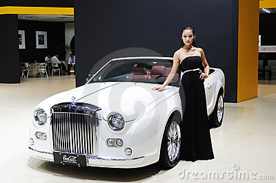 Model and White Mitsuoka galue convertible front Editorial Image