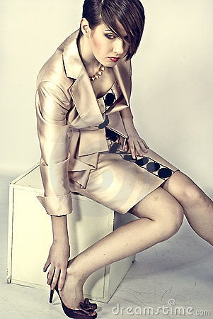 Model in a woman s suit