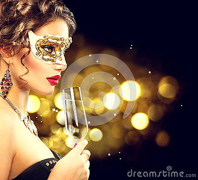 Free Model Woman With Glass Of Champagne Stock Image - 62696601