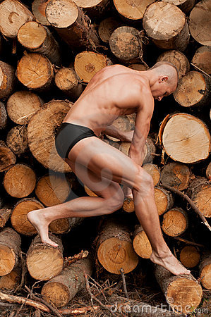 Model with the wood