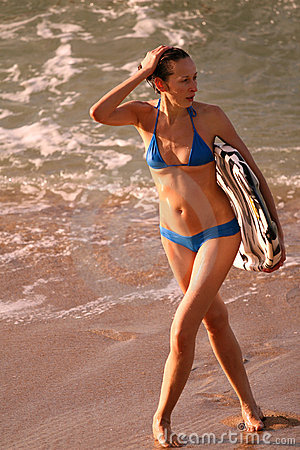 Free Modell With Boogie Board Stock Images - 4108504