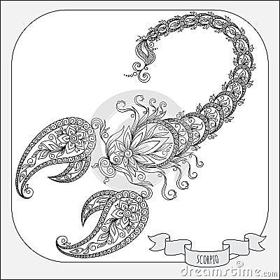 Modello disegnato a mano per lo scorpione dello zodiaco - Libro da colorare elefante libro ...