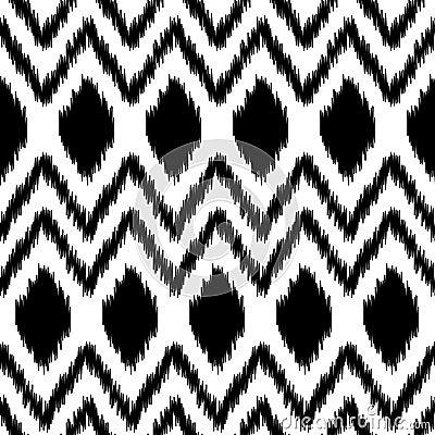 ... geometrico dell estratto etnico in bianco e nero del ikat, vettore