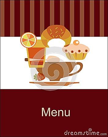 Modello saporito di disegno del menu della prima colazione
