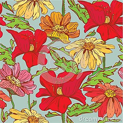 Modello senza cuciture floreale con i fiori disegnati a for Fiori disegnati