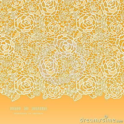 Modello senza cuciture orizzontale delle rose dorate del pizzo