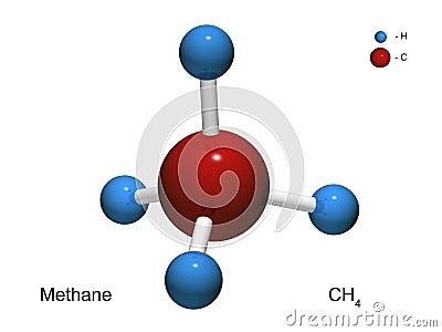 Modelo aislado 3D de una molécula del metano