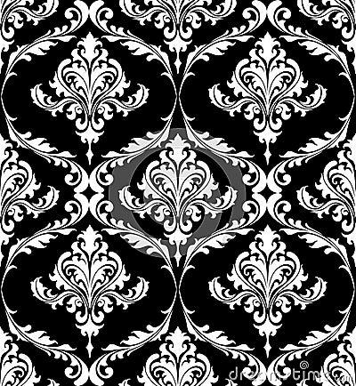 Modelo blanco y negro del damasco del vintage foto de for Papel pintado blanco y negro